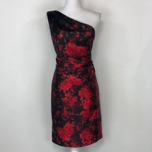 Cache Black & Red Abstract Floral Print Dress